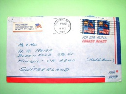 USA 1987 Cover To Switzerland - Fireworks - Flags - Etats-Unis