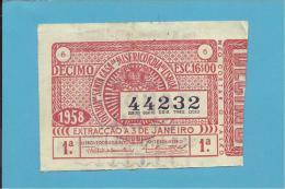 LOTARIA - 03.01.1958 - DÉCIMO - Portugal - 2 Scans E Description - Lottery Tickets