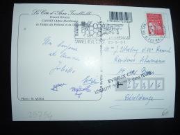 CP TP MARIANNE DE LUQUET TVP ROUGE OBL.MEC.27-8-2001 CANNES BEAL C.DIST. (06) + GRIFFE EVREUX CTC LOCALITE INCONNUE DANS - 1997-04 Marianne Du 14 Juillet