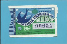 LOTARIA NACIONAL - 9.ª ORD. - 08.03.1969 - ESPECIAL DE MARÇO - ANDORINHA - Portugal - 2 Scans E Description - Lottery Tickets