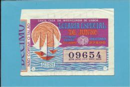 LOTARIA NACIONAL - 21.ª ORD. - 07.06.1969 - ESPECIAL DE JUNHO - BARCOS - Portugal - 2 Scans E Description - Lottery Tickets