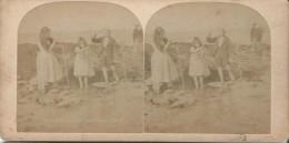 Enfants Sur La Plage/ A La Pêche/ Deux Vues / Vers 1900       STE77 - Stereo-Photographie