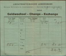 1964 LIECHTENSTEINISCHE LANDESBANK GELDWECHSEL - Assegni & Assegni Di Viaggio