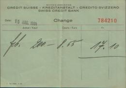 1964 CREDIT SUISSE KREDITANSTALT SWISS CREDIT BANK CHANGE - Assegni & Assegni Di Viaggio