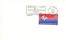 REVOLUTION = 62 CARVIN 1989 = FLAMME Type II = SECAP  ' Fêtes Du Bicentenaire' - Mechanical Postmarks (Advertisement)