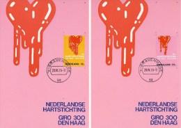 3 Maximumkaarten NVPH Nr. 975 T/m 977 (1970, Hartstichting) - Cartes-Maximum (CM)