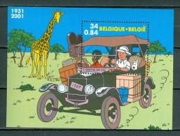 België/Belgique 2001 OBP/COB Bl 93** Kuifje In Afrika / Tintin Au Congo - Blokken 1962-....