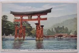 Shrine And Big Torii Seen From The Sea, Miyajima, On The Island Sea (Japon), Carte Postale Ancienne. - Japan