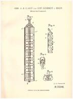 Original Patent - O. Huff Und G. Scheinert In Berlin , 1885 , Blasinstrument , Trompete , Tuba , Posaune !!! - Musikinstrumente