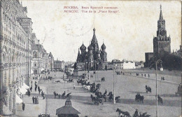 Cp  Russie MOSCOU Vue De La Place Rouge , L´église  ( Attelage  ) Timbres Postes Rouge 3 Orange 1 Cachet Noir Et Violet - Russie