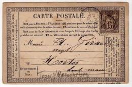 !!! CARTE PRECURSEUR TYPE SAGE, CACHET DE TOURS SUR MARNE (MARNE) 1877 - Precursor Cards
