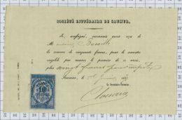 Reçu De La Sté Littéraire De Saumur En 1871 Avec Fiscal - Artigianato