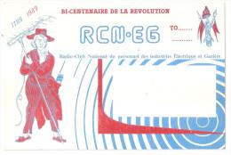 Carte Radio Qsl - Club National Du Personnel Des Industries électriques Et Gazière - Bi Centenaire Révolution 1989 - Amateurfunk