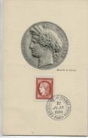 CENTENAIRE DU T.P.: 15f. REPUBLIQUE (Yvert N° 830) Carte Maximum / 1949 / - Cartoline Maximum