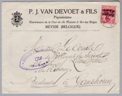 Belgien Zensur Brief Nach Ganshoren Von Meysse (Pépiniéristes Van Dievoet) - WW I