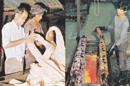 2-Views, Batik Being Cracked, Batik Being Dyed, INDONESIA, 50-70's - Indonésie