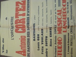 Affiche Originale Studio Musical Montpellier. L'orchestre Antonio Cortez Du Dancing Des Sources D'Avignon.44 X 56 - Manifesti & Poster