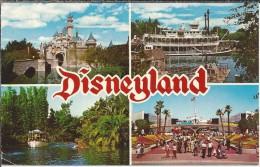 US.- Disneyland. Sleeping Beauty Castle. Mark Twain Steamboat, Jungle Cruise. Tomorroland - Disneyland