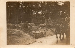 Carte Photo Cimetiere Militaire Dans La Somme Animée Chevaux - Militari