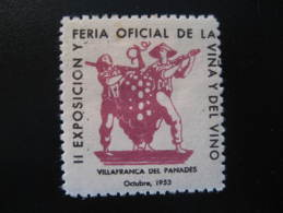 VILAFRANCA Del PENEDES 1953 Vino Wine Vin Enology Poster Stamp Label Vignette Viñeta Barcelona Catalonia Spain Es - Espagne