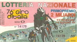 112 CICLISMO GIRO ITALIA 2 BIGLIETTI LOTTERIA ABBINATA 1993 - 1994 - Ciclismo