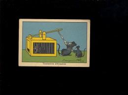 Chromo Image Type Bon Point école Tentative D'évasion Souris En Cage ( Illustration Benjamin Rabier  ) - Trade Cards