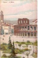 VERONA: L'ARENA-NON CIRCULEE-CARTE POSTALE ARTISTIQUE- GECKO. - Verona