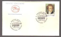 5882- Ancona 13/10/2002 Riapertura Del Teatro Delle Muse Busta Celebrativa Con Annullo Speciale - 6. 1946-.. Republic