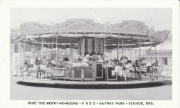 Seaside Oregon, Gayway Park Merry-Go-Round Amusement Ride, 'Good For Free Ride' C1940s/50s Vintage Postcard - Etats-Unis