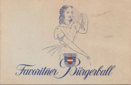 Eintrittskarte FAVORITNER BÜRGERBALL 1948 Bundeskanzler LEOPOLD FIGL Min.JULIUS RAAB - Eintrittskarten