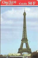CARTE-PREPAYEE-50F-ONE.TEL-TOUR EIFFEL- GRATTEE- TB E- - Frankrijk
