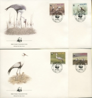 Malawi 1987 WWF Naturschutz Klunkerkranich Ersttagsbriefe 477/80 FDC (R2309) - Malawi (1964-...)
