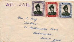 LP-Brief BRUNEI 1957 - 3 Fach Frankiert Und Gel.1957 N.England? - Sonstige - Asien