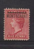 Montserrat 1884 1d Red Overprint On Antigua Unused - Montserrat
