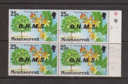 Montserrat 1976 25 C Flowering Tree Official Positional Block 4 FU , 1 'No Stop ' Variety - Montserrat