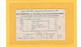 PARIS (75001) / PUBLICITES / Enveloppe Publicitaire Avec Tarifs Imprimerie CH.FORTIN 59,rue Des Petits-Champs PARIS - Publicités