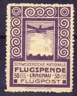 Flugpostmarke 1913 Vorläufer Zu# VI Langnau * - Neufs
