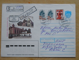 Cover Sent From Moldova 1993, Overprints Mixed With Stationery USSR Stamp Registered Tiraspol Extra Pay Cancel - Moldavia