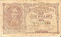 BILLETE DE BELGICA DE 1 FRANC DEL 26-10-1918  (BANKNOTE) RARO - 1-2 Francos
