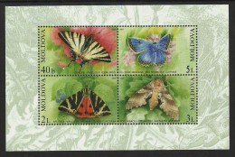 MOLDOVA 2003 BUTTERFLIES INSECTS MOTHS M/SHEET MNH - Moldova