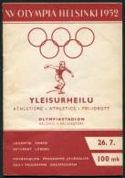 1952 Helsinki Olympic Programme - 26th July - Athletics - Livres
