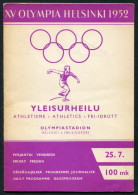 1952 Helsinki Olympic Programme - 25th July - Athletics - Books