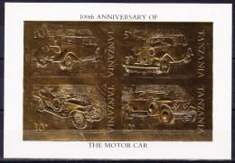 Tanzania 100 Jahre Automobil - 1986 - Block In 22 Karat  Gold - Tanzanie (1964-...)