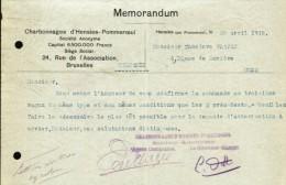 Hensies - Pommeroeul. M�morandum. Charbonnages d�Hensies - Pommeroeul.****