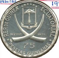 EQUATORIAL GUINEA 75 PESETAS IVORY TASKS FRONT POPE JOHNXXIII BACK1970 AG SILVER KM10.2 PROREAD DESCRIPTION CAREFULLY!!! - Equatorial Guinea