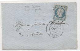 MEUDON - Enveloppe Avec Cachet De Cire -  PC 1979 Sur Yvert 14 F (Indice 3) Adressée A MACON (71)   (71196) - 1849-1876: Période Classique