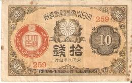 BILLETE DE JAPON DE 10 SEN DEL AÑO 1921   (BANKNOTE) RARO - Japón