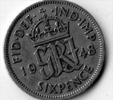 Great Britain Six Pence 1948 - 1902-1971: Postviktorianische Münzen