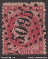 GC 5095 (Salonique, (Turquie)) Sur 80c Lauré  (Cote +++€) - Marcophily (detached Stamps)