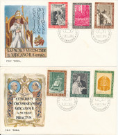 Vatican FDC 11-10-1966 Complete Set Of 6 On 2 Covers Second Vatican Council With Cachet - FDC